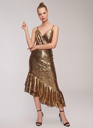 People By Fabrika İp Askılı Volanlı Abiye Elbise Altın